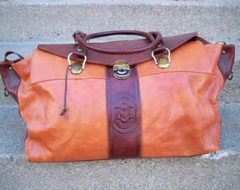 Vintage Marino Orlandi Brown Leather Travel Duffle Duffel Luggage Gym Carry On Bag Made in Italy