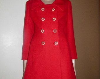 Vintage red coat made in England.Vintage red wool coat.