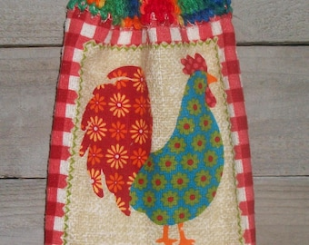 Retro Floral Rooster Checks 'Bless This Kitchen' Printed Dishtowel Crochet Top Hanging Kitchen Fridge *No Button/Button* Handmade by HCF&D