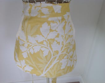 Beautiful Yellow and cream Floral Peg Apron, Clothespin Apron, General Use Half Apron
