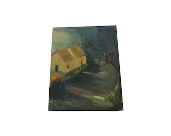 Antique 16 x 19.5 Old House Oil Painting Art On Canvas
