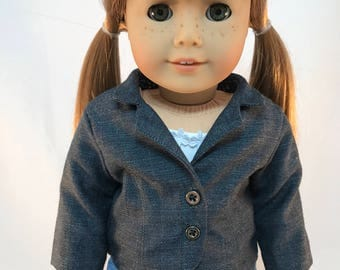 "18 inch doll clothes  ""The Sophia Blazer"" Eco-friendly, handcrafted fully lined fashion blazer jacket"