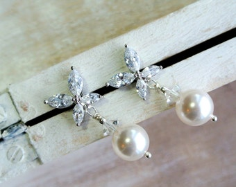 ON SALE   Art Deco Earrings, Bridal Earrings, Wedding Earrings, Bridal Jewelry ,Dangle Earrings,Pearl  Crystal  Earrings ,Wedding Jewellery