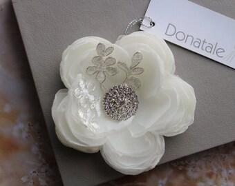 Ivory Wedding Hair Flower, Wedding hairpiece, Bridal headpiece, Bridal hair piece, Flower with lace hair clip ,Floral Fascinator - AUDREE