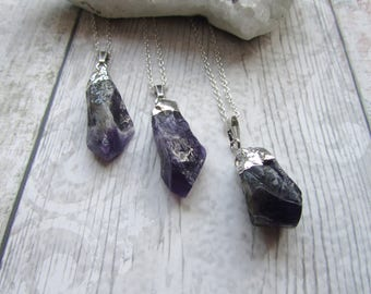 Chevron Amethyst Pendant - Raw Rough Rock Crystal - Electroplated Necklace Point Polished Stone Silver Plated