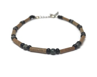 Hazelwood anklet bracelet with moss jasper