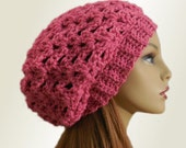 PINK SLOUCHY BEANIE Hat Pink Slouchy Crochet Knit Wool Hat Bright Pink Slouchie Beany Slouch Women Hats Teen Pink Hat Gift Idea Gift for Her