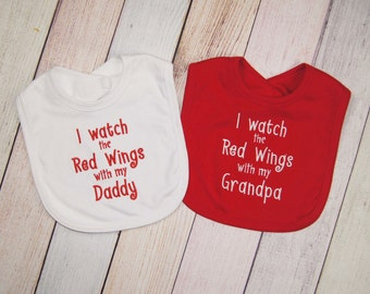 Detroit Red Wings Baby Girl - Red Wings Baby Boy - Detroit Red Wings Hockey Fan Baby Embroidered Burp Cloth - Red Wings Baby - New Dad Gift