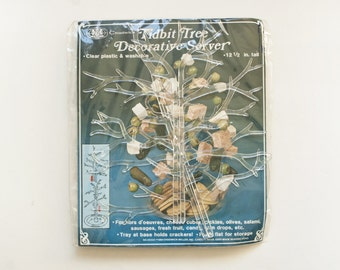 """Vintage 1980s """"Tidbit Tree"""" Decorative Server, Plastic Tree Shaped Hors d'oeuvres Gum Drop Party Centerpiece, New in Package, 12 1/2 in tall"""