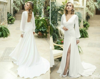 Ivory Crepe Open Back Wedding Dress And Handmade Embellishments Long Sleeve With Train