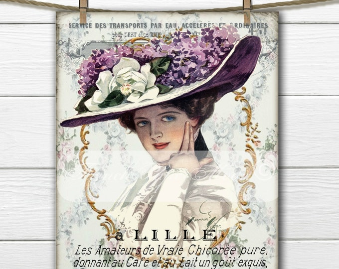Digital Victorian Women, French Graphics, French Digital Woman, French Pillow Transfer Graphic, Instant Download