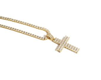 Tennis Diamond Chain and Cross