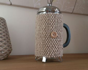 Oatmeal hand knitted cafetiere cosy with wooden button detail - Ready to ship