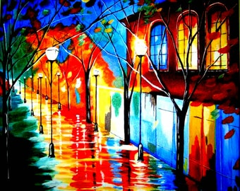 Rainy Night colorful vibrant print of painting by Pamela Henry cityscape reds yellows blues