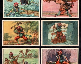 German Vintage Victorian Trade cards  issued 1900's complete set of six cards Fairy tale stories Sinbad the sailor