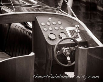 Boat photography, Sepia Prints, Vintage boat photo, Lake house art, Chris Craft, Boat decor, Canvas boat art, // Classic wooden boat helm