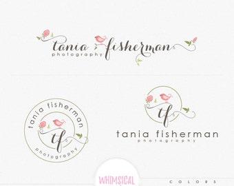 whimsical singing bird -Logo Design Branding Package Inc. feminine Logo children boutique - Photographer package logo Script Watercolor Logo