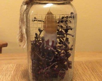 Vintage Christmas lamp holly berries mason jar