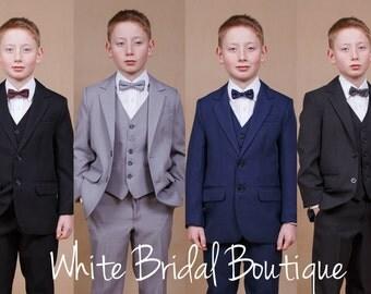 4 pcs. boy suit Wedding boy suit Ring bearer outfit Boy vest Communion suit Confirmation suit Wedding navy suit Teeneger suit Graduate suit