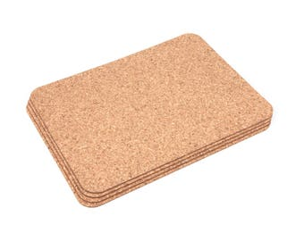 Rectangular Cork Placemats Table Mats Dining - Pack of 4 + coasters and bottle holder
