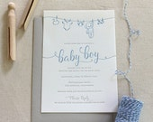 Letterpress Baby Shower Clothesline Invitations 25 flat cards, 1 or 2 color, script, traditional, simple, grey, blue, baby, boy, girl