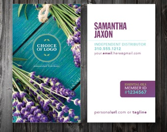 BUSINESS Cards \\ personalized Essential Oils \\ Thick 16pt Luxury Matte paper \\ LAVENDER sprigs