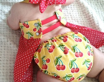 3-6 Month Baby Girl polkadot Dress, Baby girl clothes, Polka dot dress, Halter top with diaper cover, Summer sun dress, Baby gift, Open back