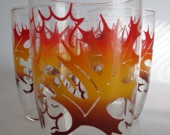 Autumn Fall Oak Leaf Leaves Drinking Glasses Set of 5