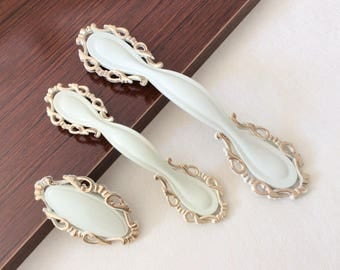 "2.50'' 3.75""Dresser Pulls Cream White Drawer Pulls Handles Gold  Knobs Cabinet Handles Door Shabby Chic Decorative Pulls 64mm 96mm"