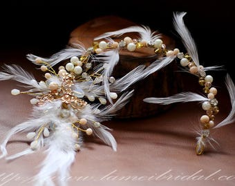 Clearance-Golden Ivory feather Bridal Halo,  Gothic style Bridal Hair Vine, Bridal Headpiece, Bridal pearl Headband