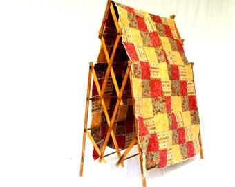 Vintage Handmade Blanket, Patchwork Quilt, Cotton Rag Blanket Throw, Picnic Blanket, Cottage Chic Quilt, Handmade Bedding, Rustic Cabin