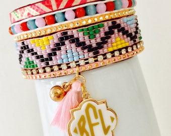 Monogrammed Bracelet, Stacked Bracelet Style with Monogrammed Charm