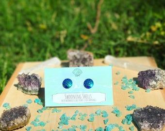 Blue mermaid scale stud earrings