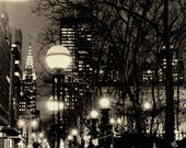 New York Photograph - Chrysler Building - Street Lights - Romantic City - NY Architecture - Winter Night - Bare Trees - Capital of the World