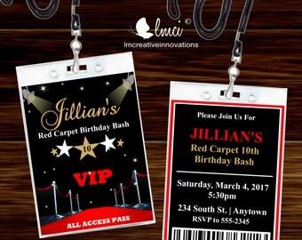 Red Carpet VIP Invitation Pass, VIP Badge