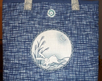 NEW Blue Rabbits: cotton 100% hand sewn tote bag