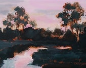 Small original landscape painting 4x6 art, framed art, pink and green, black, field, trees, stream, country, sunset, evening sky