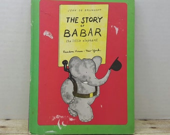 The Story of Babar, the little elephant, 1961, Jean De Brunhoff, vintage kids book