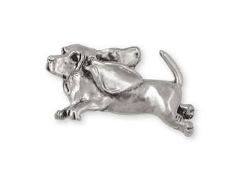 Basset Hound Brooch Pin Jewelry Sterling Silver Handmade Dog Brooch Pin BH1-PN