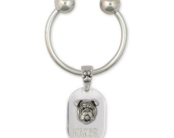 Bulldog Key Ring Jewelry Sterling Silver Handmade Dog Key Ring BD19-KRE