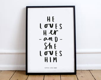 Love Typography print - Anniversary print - Quote print - Happy Print - Wedding gift - Personalised Print - Birthday Gift - Gift for her