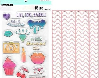 "Recollections Color Splash LIVE LOVE SPARKLE - Stamp & Stencil Set Acrylic stamps 6"" x 4"" Stamps 1.cc02"