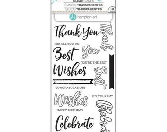Hampton Art LAYERING Stamps - WORDS Celebrate clear stamp set - Thank you Best Wishes SCO752 1.cc02