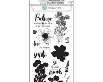 Hampton Art LAYERING Stamps - FLOWER BELIEVE clear stamp set - Believe in YOurself so glad we are Friends SCO746 1.cc02