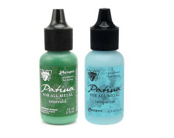 Vintaj Patina Metal Ink - EMERALD and TURQUOISE, two .5 oz bottles - cc05 IN008