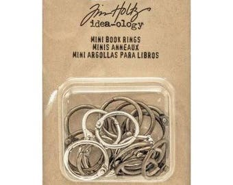 Tim Holtz Idea-ology MINI BOOK RINGS 18 rings in 3 metal tones metal embellishments cc1x
