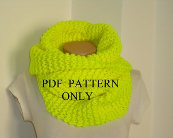 PDF pattern easy knit snood , PDF pattern knit snood ,Instant download easy knit snood pattern,knit cowl ,chunky knit cowl scarf pattern
