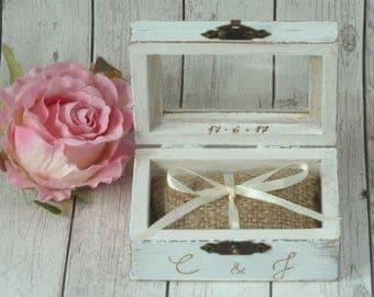 Wedding Ring Box Ring Bearer Pillow Box White Ring Pillow Rustic and Shabby Chic Wedding Pillow, Burlap Ring Box