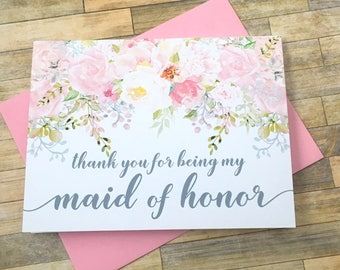 Thank you for being my maid of honor - blush watercolor wedding thank you card - best friend - bridal - sister - bridesmaid - GARDEN ROMANCE
