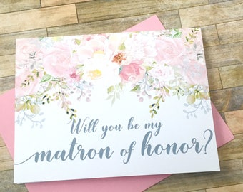 Matron of honor proposal card - will you be my matron of honor card - flower girl - bridesmaid - blush watercolor flowers - GARDEN ROMANCE